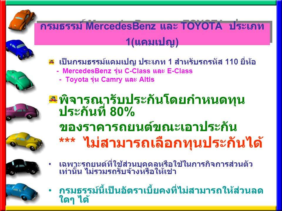 กรมธรรม์ MercedesBenz และ TOYOTA ประเภท 1( แคมเปญ ) เป็นกรมธรรม์แคมเปญ ประเภท 1 สำหรับรถรหัส 110 ยี่ห้อ - MercedesBenz รุ่น C-Class และ E-Class - Toyo