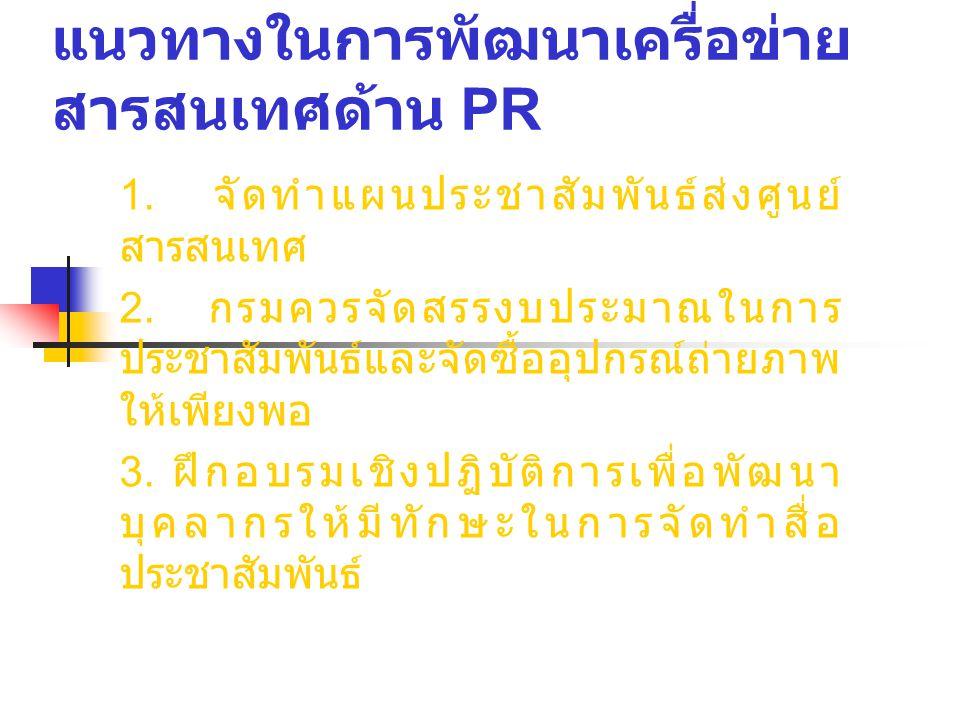 แนวทางในการพัฒนาเครื่อข่าย สารสนเทศด้าน PR 1. จัดทำแผนประชาสัมพันธ์ส่งศูนย์ สารสนเทศ 2.