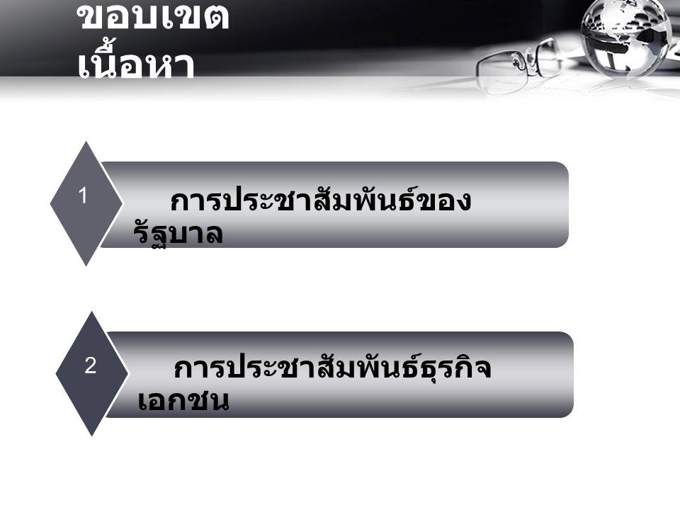 ขอบเขต เนื้อหา 12 การประชาสัมพันธ์ของ รัฐบาล การประชาสัมพันธ์ธุรกิจ เอกชน