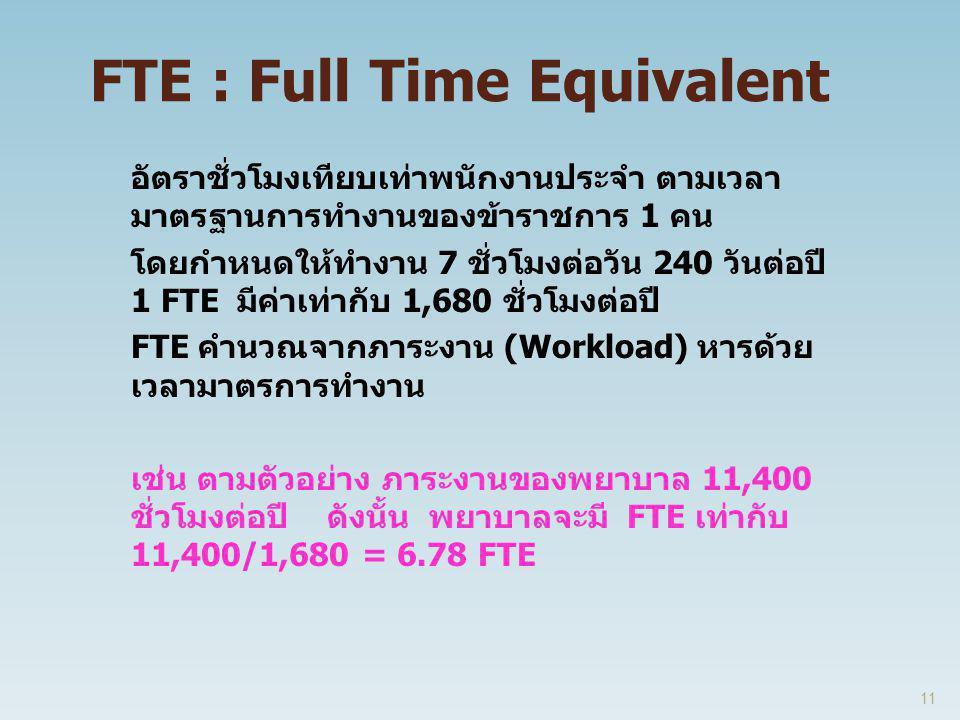 FTE : Full Time Equivalent อัตราชั่วโมงเทียบเท่าพนักงานประจำ ตามเวลา มาตรฐานการทำงานของข้าราชการ 1 คน โดยกำหนดให้ทำงาน 7 ชั่วโมงต่อวัน 240 วันต่อปี 1 FTE มีค่าเท่ากับ 1,680 ชั่วโมงต่อปี FTE คำนวณจากภาระงาน (Workload) หารด้วย เวลามาตรการทำงาน เช่น ตามตัวอย่าง ภาระงานของพยาบาล 11,400 ชั่วโมงต่อปี ดังนั้น พยาบาลจะมี FTE เท่ากับ 11,400/1,680 = 6.78 FTE 11
