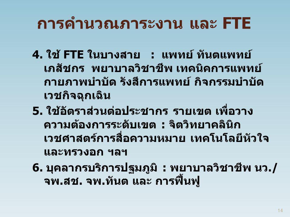 การคำนวณภาระงาน และ FTE 4. ใช้ FTE ในบางสาย : แพทย์ ทันตแพทย์ เภสัชกร พยาบาลวิชาชีพ เทคนิคการแพทย์ กายภาพบำบัด รังสีการแพทย์ กิจกรรมบำบัด เวชกิจฉุกเฉิ