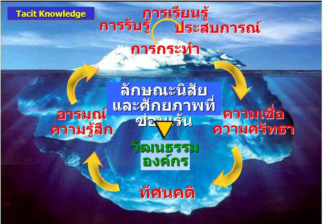 13 วัฒนธรรมองค์กร ความเชื่อความศรัทธา อารมณ์ความรู้สึก ทัศนคติ การกระทำ ลักษณะนิสัย และศักยภาพที่ ซ่อนเร้น การรับรู้ การเรียนรู้ ประสบการณ์ Tacit Know