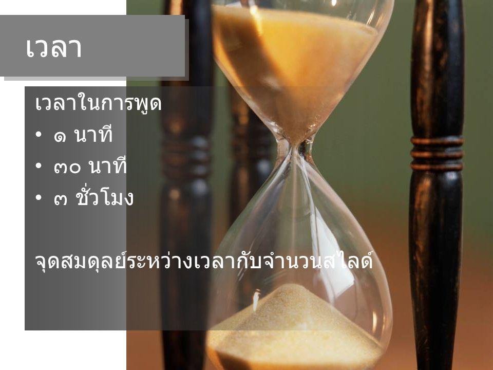 เวลา เวลาในการพูด ๑ นาที ๓๐ นาที ๓ ชั่วโมง จุดสมดุลย์ระหว่างเวลากับจำนวนสไลด์