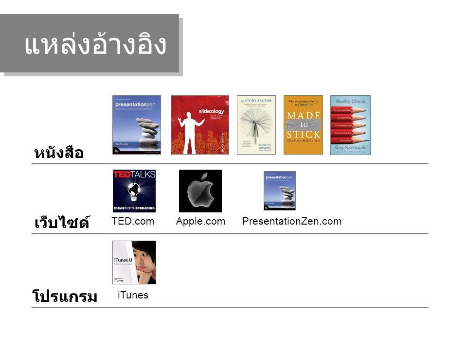 แหล่งอ้างอิง หนังสือ เว็บไซด์ TED.comApple.com โปรแกรม iTunes PresentationZen.com