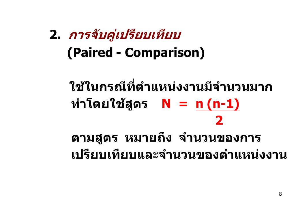 8 2. การจับคู่เปรียบเทียบ (Paired - Comparison) ใช้ในกรณีที่ตำแหน่งงานมีจำนวนมาก ทำโดยใช้สูตร N = n (n-1) 2 ตามสูตร หมายถึง จำนวนของการ เปรียบเทียบและ