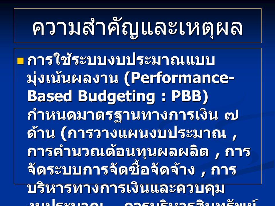 ความสำคัญและเหตุผล การใช้ระบบงบประมาณแบบ มุ่งเน้นผลงาน (Performance- Based Budgeting : PBB) กำหนดมาตรฐานทางการเงิน ๗ ด้าน ( การวางแผนงบประมาณ, การคำนวณต้อนทุนผลผลิต, การ จัดระบบการจัดซื้อจัดจ้าง, การ บริหารทางการเงินและควบคุม งบประมาณ, การบริหารสินทรัพย์, การรายงานทางการเงินและผล การดำเนินงาน และการตรวจสอบ ภายใน ) การใช้ระบบงบประมาณแบบ มุ่งเน้นผลงาน (Performance- Based Budgeting : PBB) กำหนดมาตรฐานทางการเงิน ๗ ด้าน ( การวางแผนงบประมาณ, การคำนวณต้อนทุนผลผลิต, การ จัดระบบการจัดซื้อจัดจ้าง, การ บริหารทางการเงินและควบคุม งบประมาณ, การบริหารสินทรัพย์, การรายงานทางการเงินและผล การดำเนินงาน และการตรวจสอบ ภายใน )