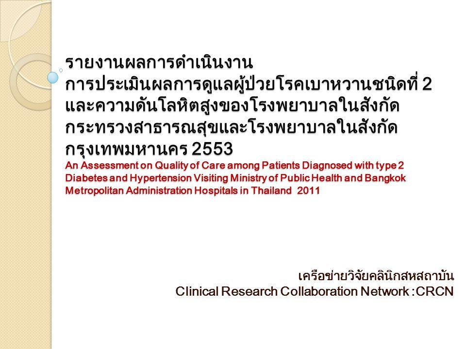 รายงานผลการดำเนินงาน การประเมินผลการดูแลผู้ป่วยโรคเบาหวานชนิดที่ 2 และความดันโลหิตสูงของโรงพยาบาลในสังกัด กระทรวงสาธารณสุขและโรงพยาบาลในสังกัด กรุงเทพมหานคร 2553 An Assessment on Quality of Care among Patients Diagnosed with type 2 Diabetes and Hypertension Visiting Ministry of Public Health and Bangkok Metropolitan Administration Hospitals in Thailand 2011 เครือข่ายวิจัยคลินิกสหสถาบัน Clinical Research Collaboration Network :CRCN