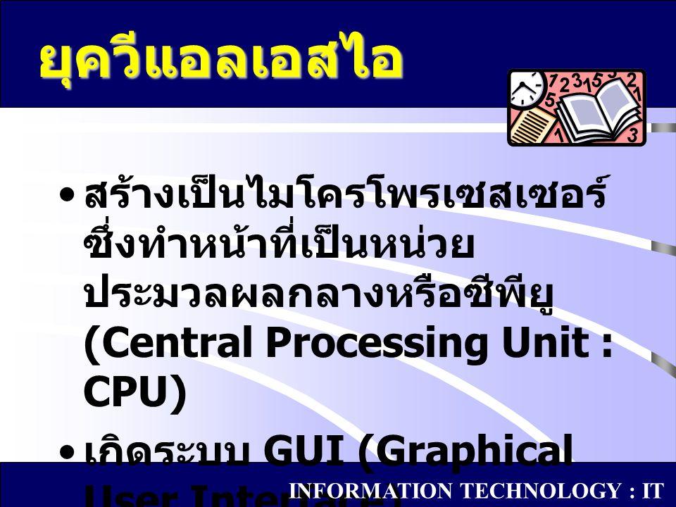 สร้างเป็นไมโครโพรเซสเซอร์ ซึ่งทำหน้าที่เป็นหน่วย ประมวลผลกลางหรือซีพียู (Central Processing Unit : CPU) เกิดระบบ GUI (Graphical User Interface) ยุควีแ