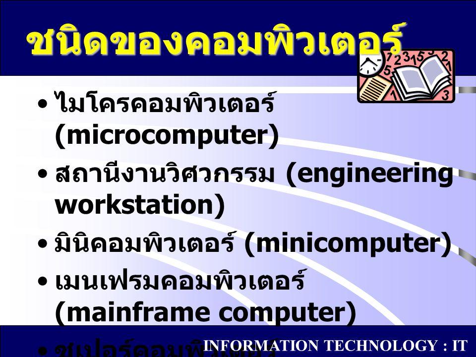 ไมโครคอมพิวเตอร์ (microcomputer) สถานีงานวิศวกรรม (engineering workstation) มินิคอมพิวเตอร์ (minicomputer) เมนเฟรมคอมพิวเตอร์ (mainframe computer) ซูเ