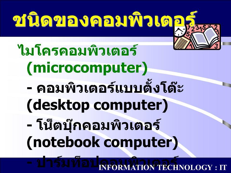 ไมโครคอมพิวเตอร์ (microcomputer) - คอมพิวเตอร์แบบตั้งโต๊ะ (desktop computer) - โน็ตบุ๊กคอมพิวเตอร์ (notebook computer) - ปาร์มท็อปคอมพิวเตอร์ (palmtop