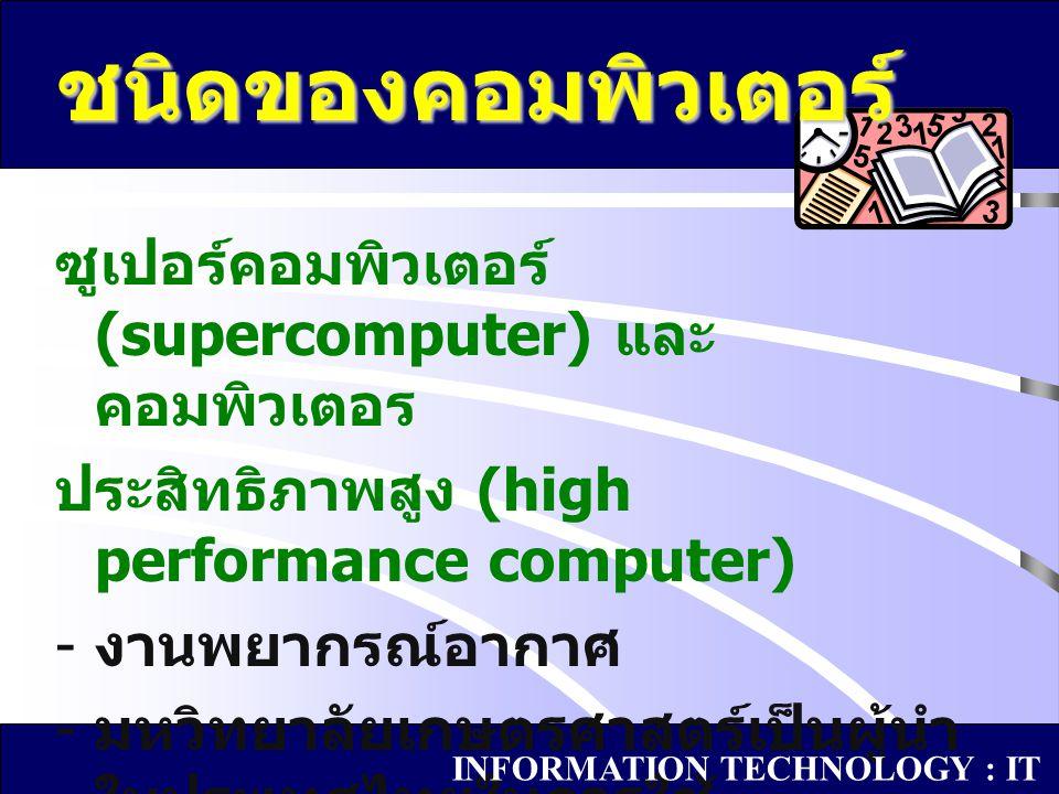 ซูเปอร์คอมพิวเตอร์ (supercomputer) และ คอมพิวเตอร ประสิทธิภาพสูง (high performance computer) - งานพยากรณ์อากาศ - มหวิทยาลัยเกษตรศาสตร์เป็นผู้นำ ในประเ