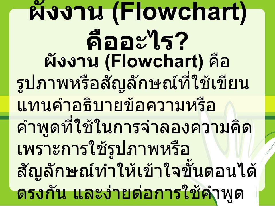 ผังงาน (Flowchart) คืออะไร ? ผังงาน (Flowchart) คือ รูปภาพหรือสัญลักษณ์ที่ใช้เขียน แทนคำอธิบายข้อความหรือ คำพูดที่ใช้ในการจำลองความคิด เพราะการใช้รูปภ