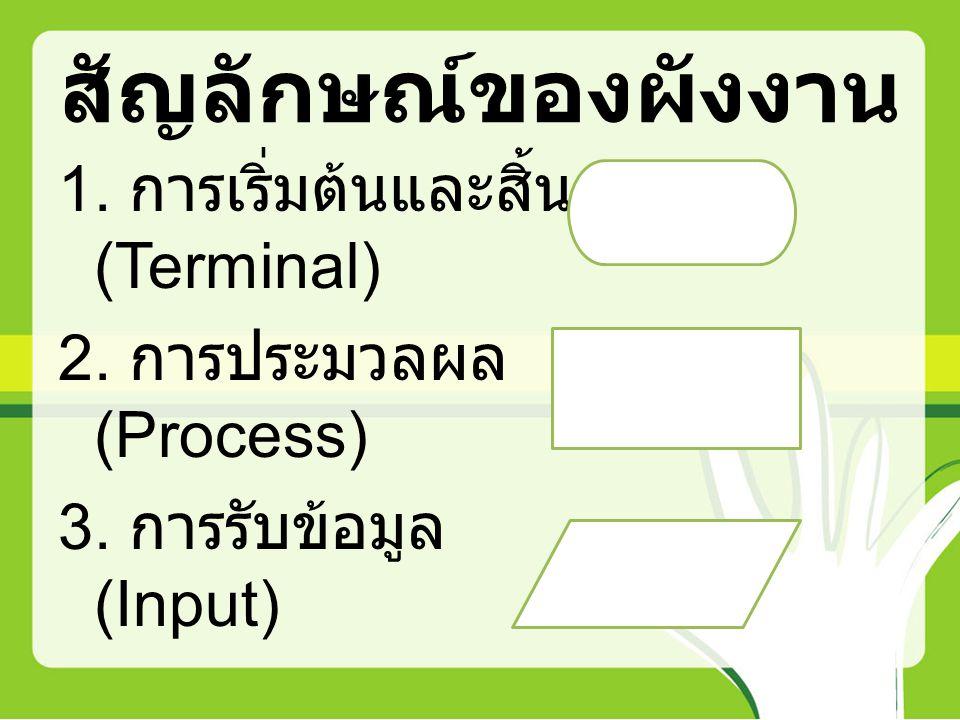 สัญลักษณ์ของผังงาน 1. การเริ่มต้นและสิ้นสุด (Terminal) 2. การประมวลผล (Process) 3. การรับข้อมูล (Input)