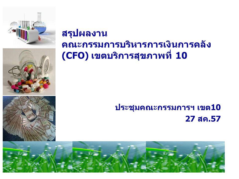 สรุปผลงาน คณะกรรมการบริหารการเงินการคลัง (CFO) เขตบริการสุขภาพที่ 10 ประชุมคณะกรรมการฯ เขต10 27 สค.57