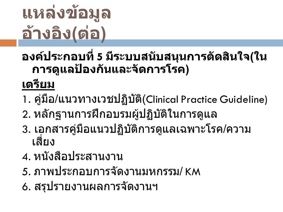 องค์ประกอบที่ 5 มีระบบสนับสนุนการตัดสินใจ ( ใน การดูแลป้องกันและจัดการโรค ) เตรียม 1. คู่มือ / แนวทางเวชปฏิบัติ (Clinical Practice Guideline) 2. หลักฐ