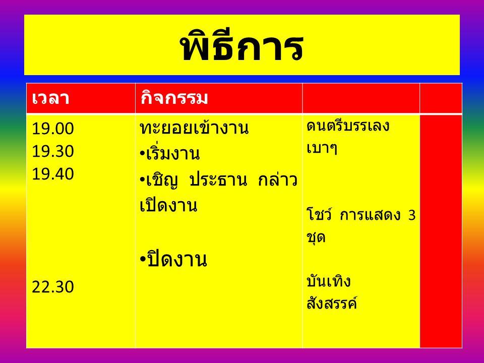 พิธีการ เวลากิจกรรม 19.00 19.30 19.40 22.30 ทะยอยเข้างาน เริ่มงาน เชิญ ประธาน กล่าว เปิดงาน ปิดงาน ดนตรีบรรเลง เบาๆ โชว์ การแสดง 3 ชุด บันเทิง สังสรรค