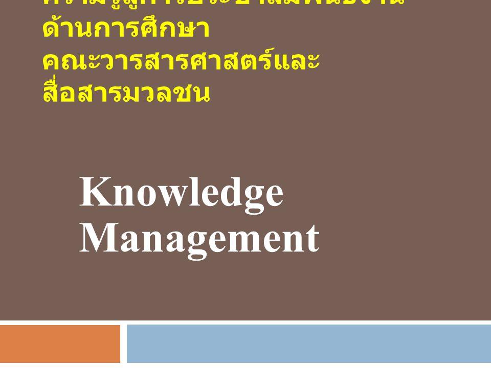 ความรู้สู่การประชาสัมพันธ์งาน ด้านการศึกษา คณะวารสารศาสตร์และ สื่อสารมวลชน Knowledge Management