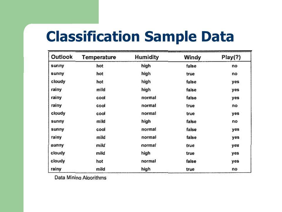 Classification Sample Data