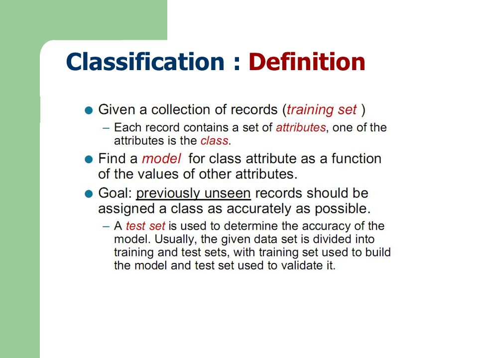 Info(T) เป็นฟังก์ชัน ที่ระบุปริมาณข้อมูลที่ ต้องการเพื่อให้สามารถจำแนก คลาสที่ต้องการได้ เมื่อ  T  คือ จำนวนข้อมูลทั้งหมดใน Training Datasets Freq(C j,T) คือ ความถี่ที่ข้อมูลใน T ปรากฏเป็นคลาส C j info(T) =