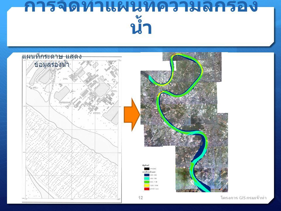 การจัดทำแผนที่ความลึกร่อง น้ำ แผนที่กระดาษ แสดง ข้อมูลร่องน้ำ 12 โครงการ GIS กรมเจ้าท่า