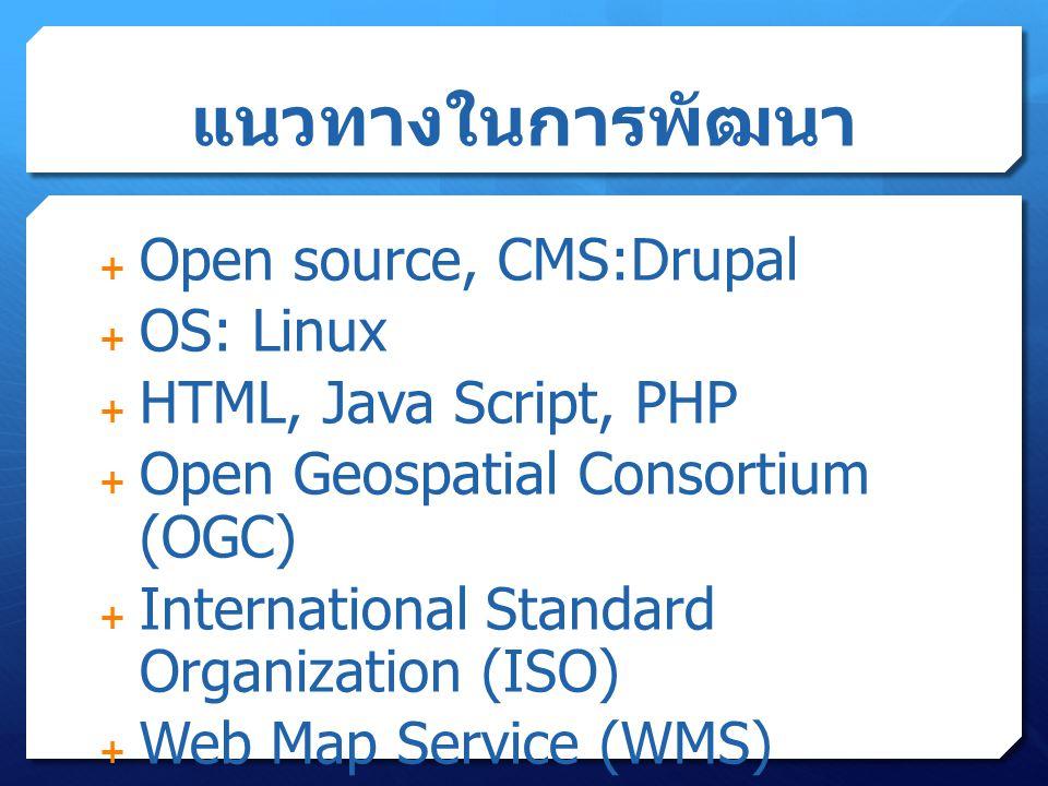 แนวทางในการพัฒนา  Open source, CMS:Drupal  OS: Linux  HTML, Java Script, PHP  Open Geospatial Consortium (OGC)  International Standard Organization (ISO)  Web Map Service (WMS)