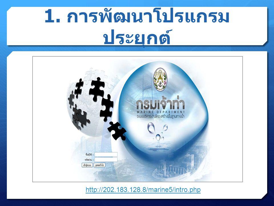 1. การพัฒนาโปรแกรม ประยุกต์ http://202.183.128.8/marine5/intro.php