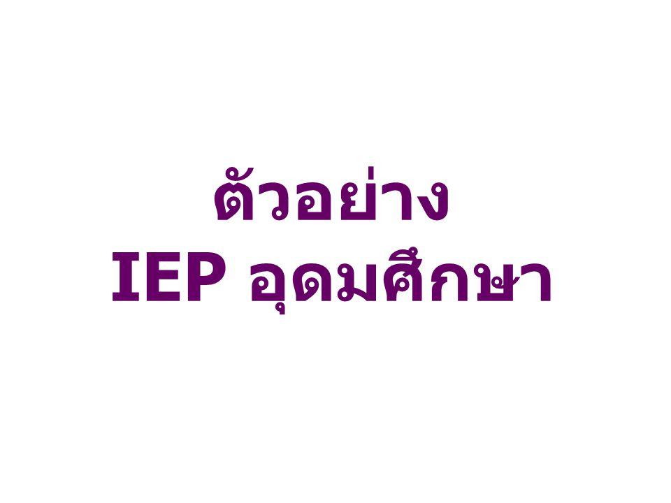 ตัวอย่าง IEP อุดมศึกษา