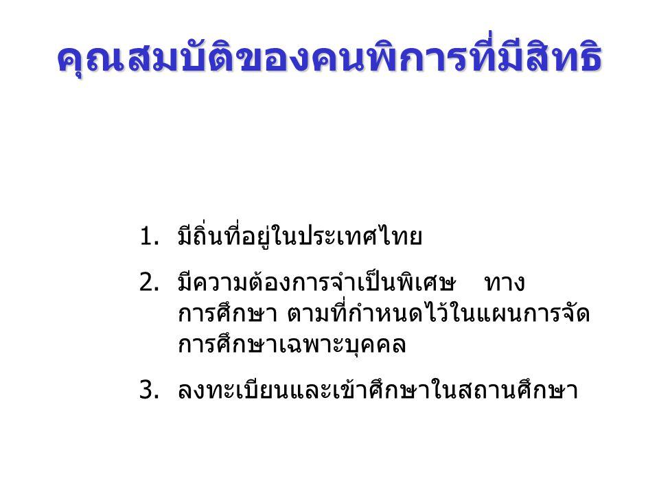 คุณสมบัติของคนพิการที่มีสิทธิ 1.มีถิ่นที่อยู่ในประเทศไทย 2.มีความต้องการจำเป็นพิเศษ ทาง การศึกษา ตามที่กำหนดไว้ในแผนการจัด การศึกษาเฉพาะบุคคล 3.ลงทะเบ