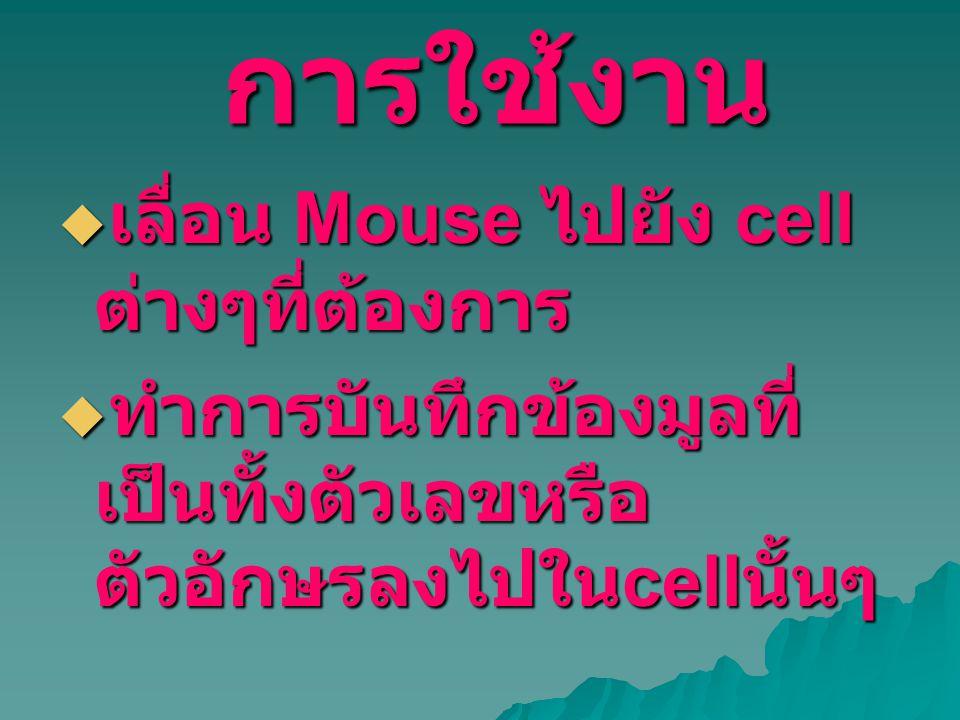 การใช้งาน  เลื่อน Mouse ไปยัง cell ต่างๆที่ต้องการ  ทำการบันทึกข้องมูลที่ เป็นทั้งตัวเลขหรือ ตัวอักษรลงไปใน cell นั้นๆ