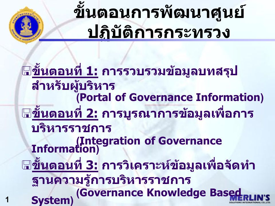 ขั้นตอนการพัฒนาศูนย์ ปฏิบัติการกระทรวง 2 - Clustering & Integrating of Executive Information - Ministerial Data Warehousing - Government Data Exchange (GDX) - Automatics Real- time Warnings/Alerts Integration of Governance Information March 31, 2004.