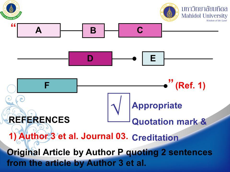 """REFERENCES 1) Author 3 et al. Journal 03. Original Article by Author P quoting 2 sentences from the article by Author 3 et al. A B C D E F (Ref. 1) """""""