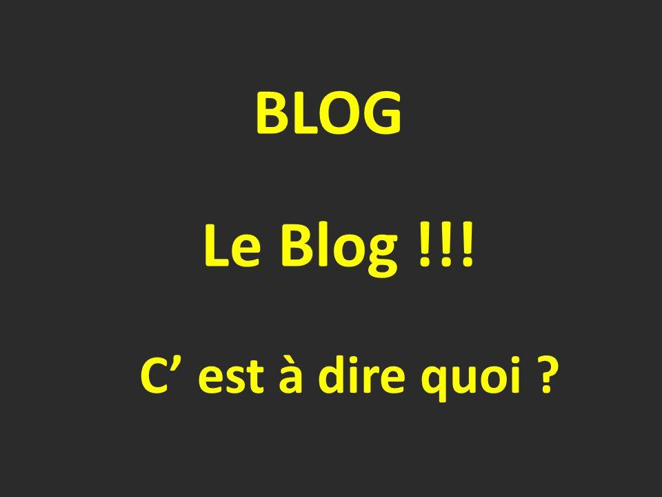 Le Blog !!! C' est à dire quoi ? BLOG