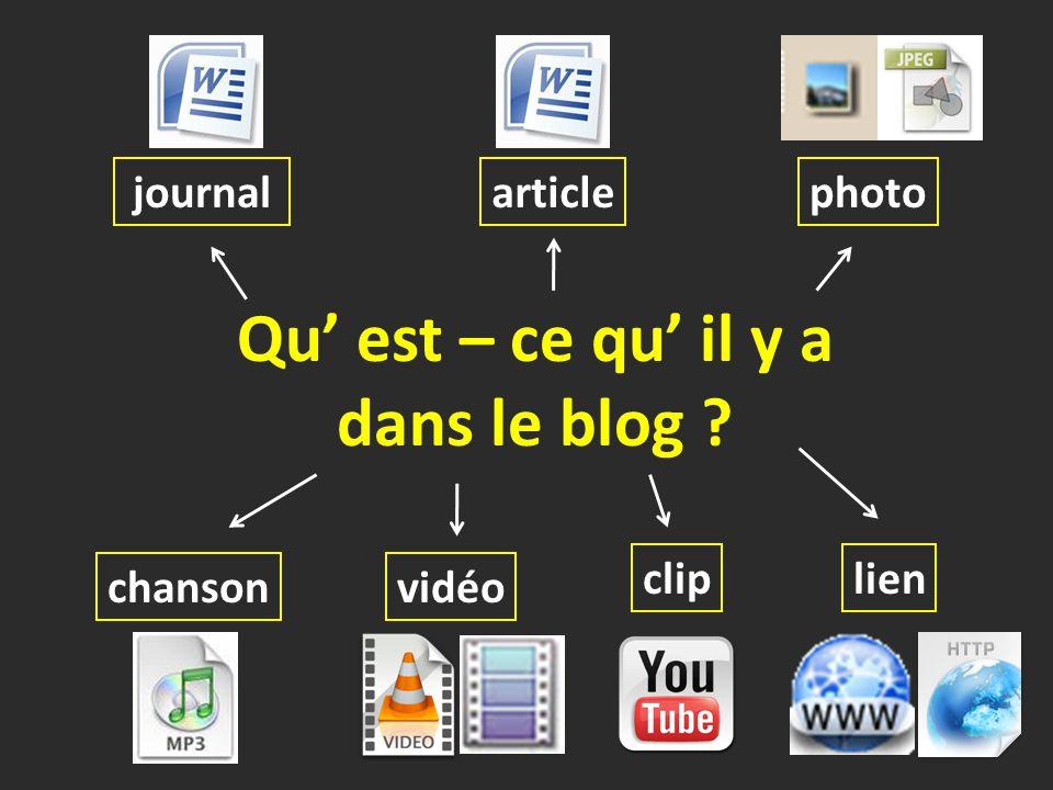 Qu' est – ce qu' il y a dans le blog ? journalphotoarticle lien chansonvidéo clip