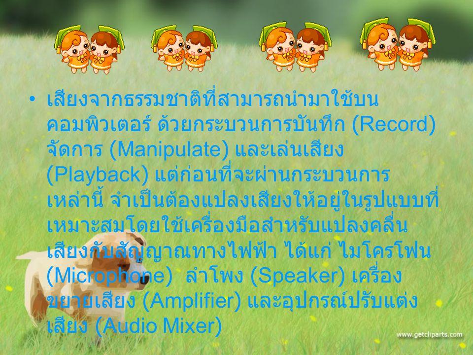 อุปกรณ์สำคัญที่ควบคุมสำหรับการทำงานและ เล่นไฟล์เสียง ได้แก่ การ์ดเสียง (Sound Card) อุปกรณ์ถ่ายทอดสัญญาณเสียง (Audio Transmission) อุปกรณ์บันทึกเสียง (Audio Mixer)