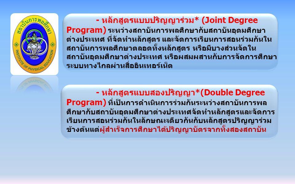 - หลักสูตรแบบปริญญาร่วม* (Joint Degree Program) ระหว่างสถาบันการพลศึกษากับสถาบันอุดมศึกษา ต่างประเทศ ที่จัดทำหลักสูตร และจัดการเรียนการสอนร่วมกันใน สถ