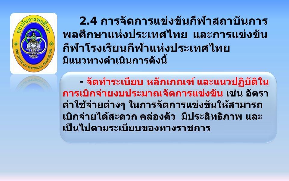 2.4 การจัดการแข่งขันกีฬาสถาบันการ พลศึกษาแห่งประเทศไทย และการแข่งขัน กีฬาโรงเรียนกีฬาแห่งประเทศไทย มีแนวทางดำเนินการดังนี้ - จัดทำระเบียบ หลักเกณฑ์ แล