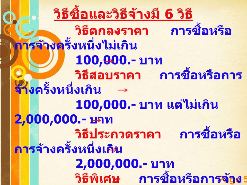 Free Powerpoint Templates Page 5 วิธีซื้อและวิธีจ้างมี 6 วิธี วิธีตกลงราคา การซื้อหรือ การจ้างครั้งหนึ่งไม่เกิน 100,000.- บาท วิธีสอบราคา การซื้อหรือก