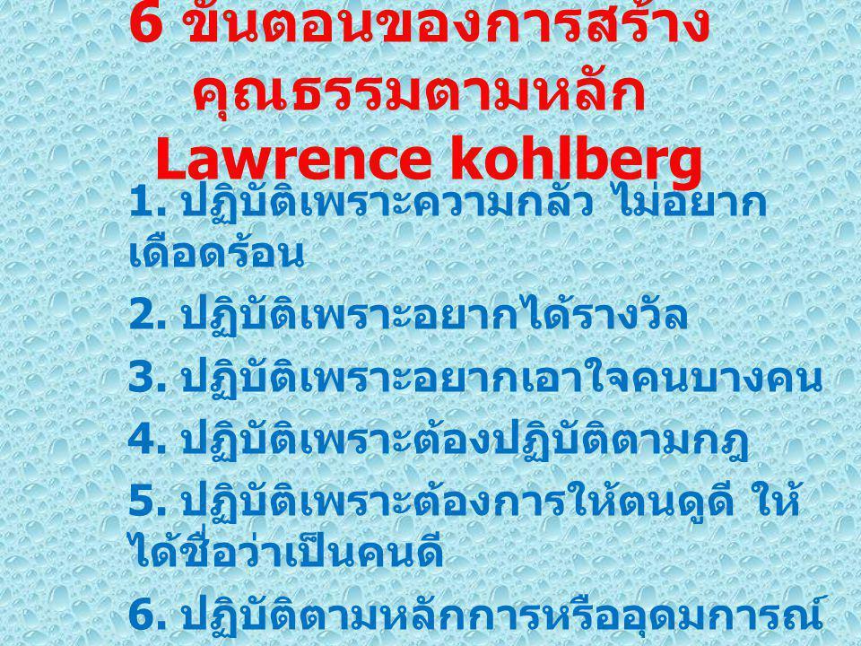 6 ขั้นตอนของการสร้าง คุณธรรมตามหลัก Lawrence kohlberg 1.