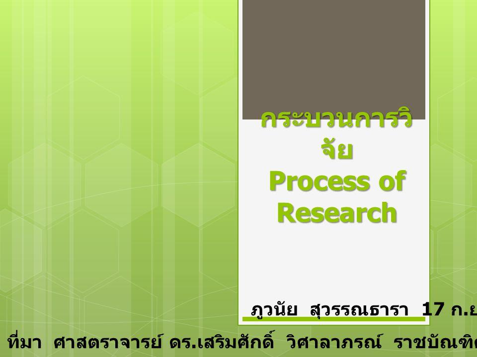 กระบวนการวิ จัย Process of Research ภูวนัย สุวรรณธารา 17 ก.