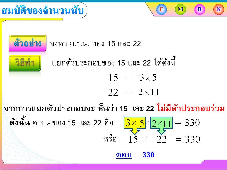 จงหา ค.ร.น. ของ 15 และ 22 แยกตัวประกอบของ 15 และ 22 ได้ดังนี้ ตอบ330 FMBN จากการแยกตัวประกอบจะเห็นว่า 15 และ 22 ไม่มีตัวประกอบร่วม ดังนั้น ค.ร.น.ของ 1