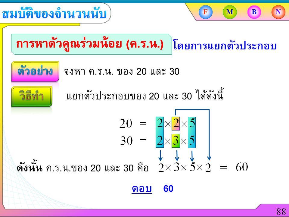 จงหา ค.ร.น. ของ 20 และ 30 โดยการแยกตัวประกอบ แยกตัวประกอบของ 20 และ 30 ได้ดังนี้ ตอบ60 FMBN ดังนั้น ค.ร.น.ของ 20 และ 30 คือ
