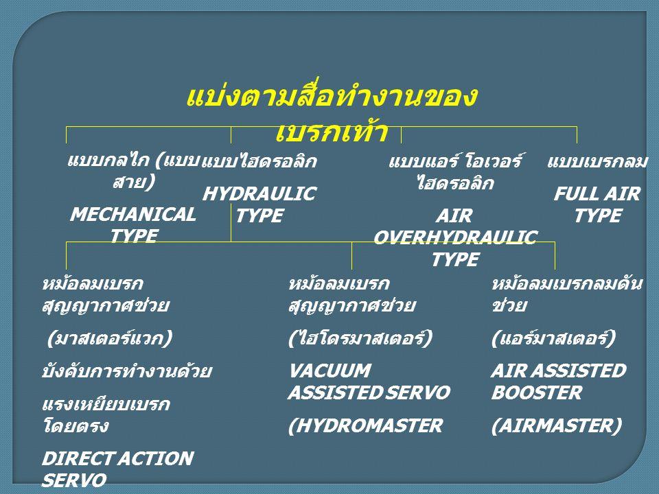 แบ่งตามสื่อทำงานของ เบรกเท้า แบบกลไก ( แบบ สาย ) MECHANICAL TYPE แบบไฮดรอลิก HYDRAULIC TYPE แบบเบรกลม FULL AIR TYPE แบบแอร์ โอเวอร์ ไฮดรอลิก AIR OVERHYDRAULIC TYPE หม้อลมเบรก สุญญากาศช่วย ( มาสเตอร์แวก ) บังคับการทำงานด้วย แรงเหยียบเบรก โดยตรง DIRECT ACTION SERVO (MASTERVAC) หม้อลมเบรก สุญญากาศช่วย ( ไฮโดรมาสเตอร์ ) VACUUM ASSISTED SERVO (HYDROMASTER หม้อลมเบรกลมดัน ช่วย ( แอร์มาสเตอร์ ) AIR ASSISTED BOOSTER (AIRMASTER)
