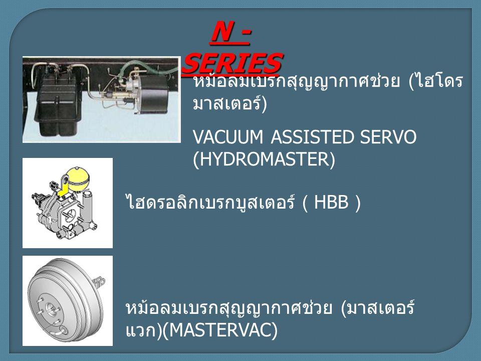 N - SERIES ไฮดรอลิกเบรกบูสเตอร์ ( HBB ) หม้อลมเบรกสุญญากาศช่วย ( ไฮโดร มาสเตอร์ ) VACUUM ASSISTED SERVO (HYDROMASTER) หม้อลมเบรกสุญญากาศช่วย ( มาสเตอร์ แวก )(MASTERVAC)