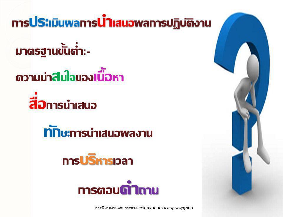 มาตรฐานขั้นต่ำ :- ความน่า ส นใจของ เนื้อ หา สื่อ การนำเสนอ ทัก ษะการนำเสนอผลงาน บริ หารเ การ บริ หารเวลา คำ ถาม การตอบ คำ ถาม การ ประ เมินผลการ นำ เสนอผลการปฏิบัติงาน การนิเทศงานและการสอนงาน By A.