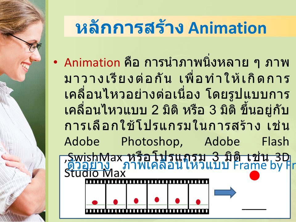หลักการสร้าง Animation Animation คือ การนำภาพนิ่งหลาย ๆ ภาพ มาวางเรียงต่อกัน เพื่อทำให้เกิดการ เคลื่อนไหวอย่างต่อเนื่อง โดยรูปแบบการ เคลื่อนไหวแบบ 2 ม