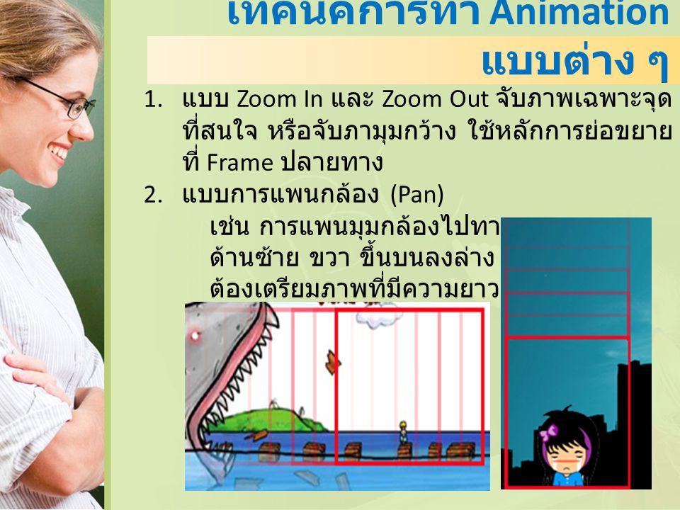 เทคนิคการทำ Animation แบบต่าง ๆ 1. แบบ Zoom In และ Zoom Out จับภาพเฉพาะจุด ที่สนใจ หรือจับภามุมกว้าง ใช้หลักการย่อขยาย ที่ Frame ปลายทาง 2. แบบการแพนก