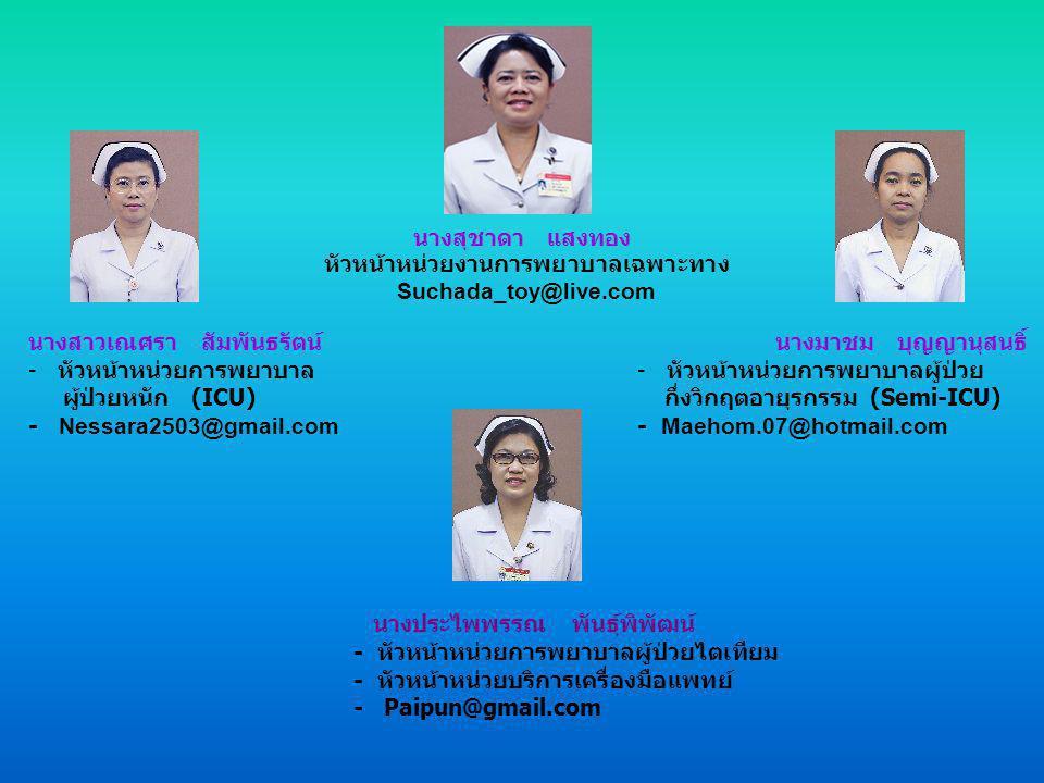 นางสาวยินดี ผลทรัพย์เจริญ หัวหน้าหน่วยงานการพยาบาลผู้ป่วยใน Yindee2504@hotmail.com นางฤดี ชุนรัตน์ - รักษาการหัวหน้าหน่วยการพยาบาลผู้ป่วย ศัลยกรรมกระดูก (3/1) - ToTo 3-1@hotmail.com นางอำพรรณ ยินดี - หัวหน้าหน่วยการพยาบาลผู้ป่วย อายุรกรรมชาย (3/2) - Applewanaloh @hotmail.com นางสาวสุนันทา จำเนียรสุข - รักษาการหัวหน้าหน่วยการพยาบาล ผู้ป่วยศัลยกรรม (3/3) - Yoho_leh@windowslive.com นางอำพรรณ ยินดี - รักษาการหัวหน้าหน่วยการพยาบาลผู้ป่วย อายุรกรรมหญิง (3/4) - Tussanee_KO@hotmail.com