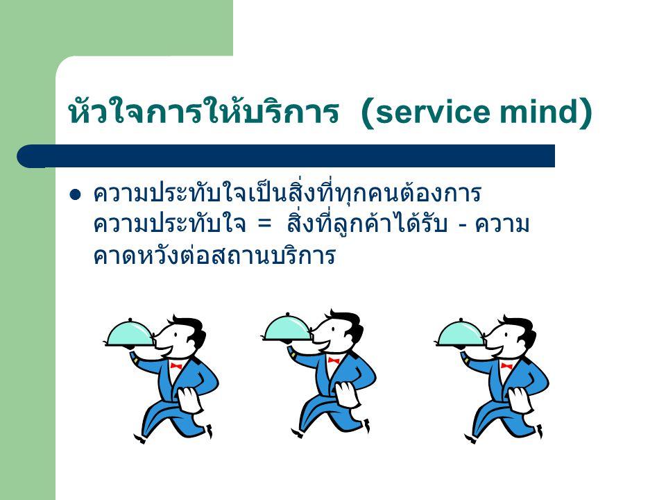 หัวใจการให้บริการ (service mind) ความประทับใจเป็นสิ่งที่ทุกคนต้องการ ความประทับใจ = สิ่งที่ลูกค้าได้รับ - ความ คาดหวังต่อสถานบริการ