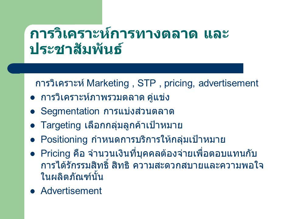 การวิเคราะห์การทางตลาด และ ประชาสัมพันธ์ การวิเคราะห์ Marketing, STP, pricing, advertisement การวิเคราะห์ภาพรวมตลาด คู่แข่ง Segmentation การแบ่งส่วนตลาด Targeting เลือกกลุ่มลูกค้าเป้าหมาย Positioning กำหนดการบริการให้กลุ่มเป้าหมาย Pricing คือ จำนวนเงินที่บุคคลต้องจ่ายเพื่อตอบแทนกับ การได้รักรรมสิทธิ์ สิทธิ ความสะดวกสบายและความพอใจ ในผลิตภัณฑ์นั้น Advertisement
