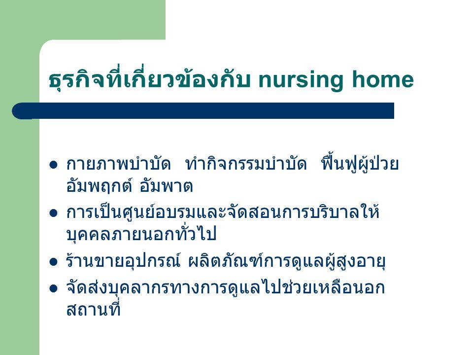 ธุรกิจที่เกี่ยวข้องกับ nursing home กายภาพบำบัด ทำกิจกรรมบำบัด ฟื้นฟูผู้ป่วย อัมพฤกต์ อัมพาต การเป็นศูนย์อบรมและจัดสอนการบริบาลให้ บุคคลภายนอกทั่วไป ร้านขายอุปกรณ์ ผลิตภัณฑ์การดูแลผู้สูงอายุ จัดส่งบุคลากรทางการดูแลไปช่วยเหลือนอก สถานที่